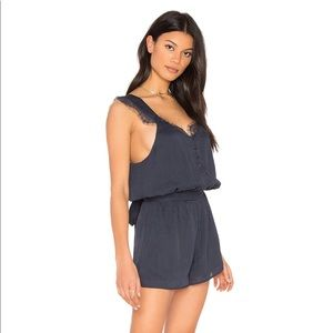 J.O.A. Los Angeles Button Down Lace Romper In Navy